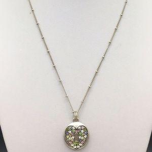 Fossil Crystal Rhinestone Heart Pendant Necklace